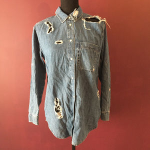 Topshop MOTO Destroyed Denim Button Down Shirt